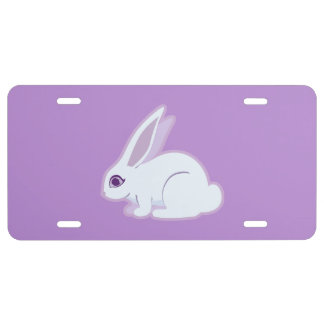 White Rabbit With Long Ears Art License Plate