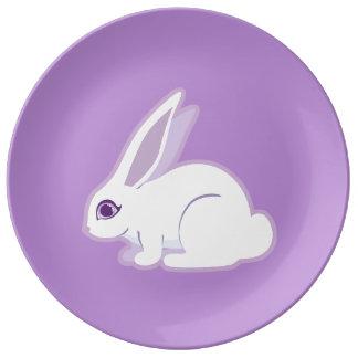 White Rabbit With Long Ears Art Porcelain Plate