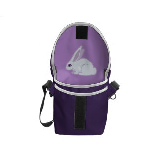 White Rabbit With Long Ears Art Messenger Bags