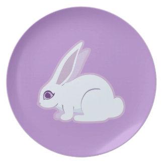 White Rabbit With Long Ears Art Dinner Plates