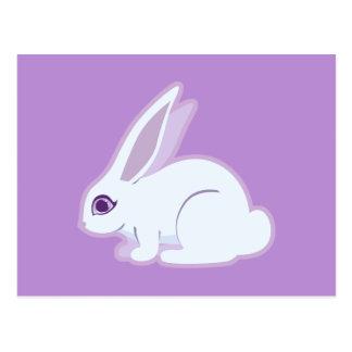 White Rabbit With Long Ears Art Postcard
