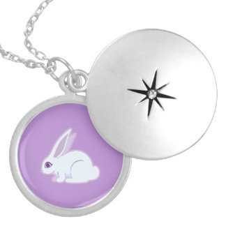 White Rabbit With Long Ears Art Round Locket Necklace