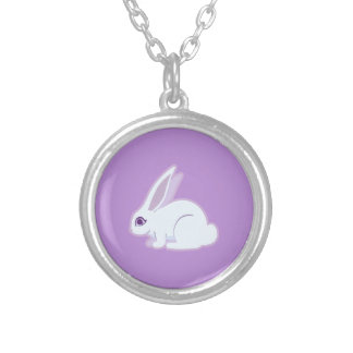 White Rabbit With Long Ears Art Round Pendant Necklace