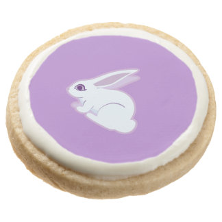 White Rabbit With Long Ears Art Round Shortbread Cookie