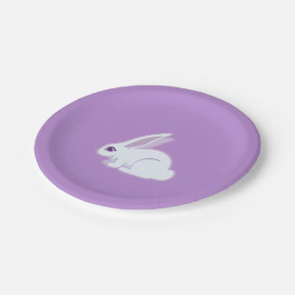 White Rabbit With Long Ears Art 7 Inch Paper Plate