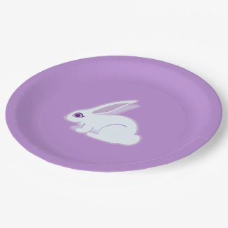 White Rabbit With Long Ears Art 9 Inch Paper Plate