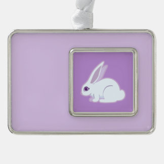 White Rabbit With Long Ears Art Silver Plated Framed Ornament