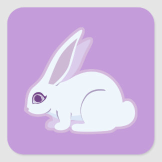 White Rabbit With Long Ears Art Square Sticker