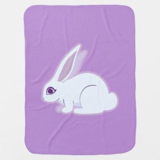 White Rabbit With Long Ears Art Stroller Blanket