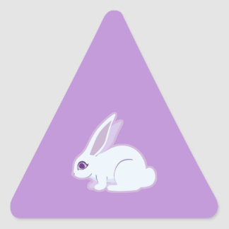 White Rabbit With Long Ears Art Triangle Sticker