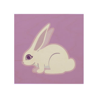 White Rabbit With Long Ears Art Wood Wall Art
