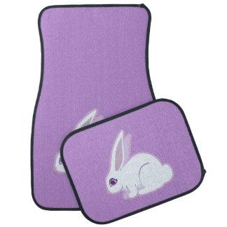 White Rabbit With Long Ears Art Floor Mat