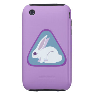 White Rabbit With Long Ears Triangle Art iPhone 3 Tough Case