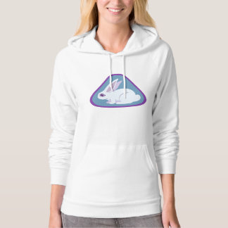 White Rabbit With Long Ears Triangle Art Hoodie