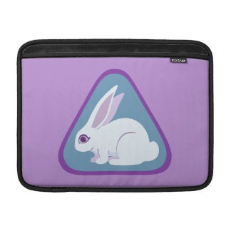 White Rabbit With Long Ears Triangle Art MacBook Sleeves