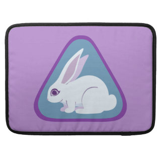 White Rabbit With Long Ears Triangle Art Sleeves For MacBooks