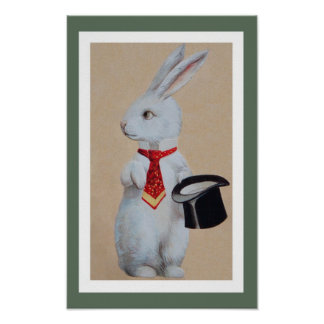 White Rabbit with Tophat Posters