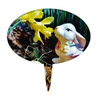 White Rabbit, yellow Easter egg Cake Topper