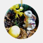 White Rabbit, yellow Easter egg Christmas Ornaments