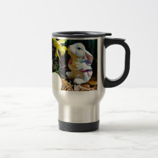 White Rabbit, yellow Easter egg Travel Mug