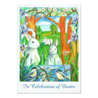 White Rabbits Chickadee Birds Easter Brunch Card