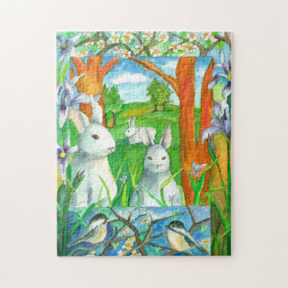 White Rabbits Chickadee Birds Spring Watercolor Jigsaw Puzzle