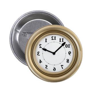 White rabbit's clock pinback button