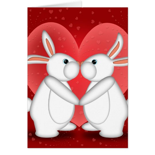 White Rabbits Kissing Greeting Card