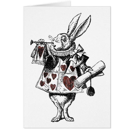 White Rabbits of Hearts - Alice in Wonderland Card
