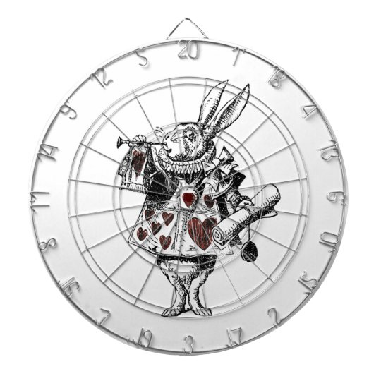 White Rabbits of Hearts - Alice in Wonderland Dartboard With Darts