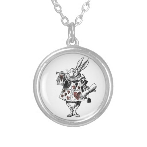 White Rabbits of Hearts - Alice in Wonderland Personalized Necklace