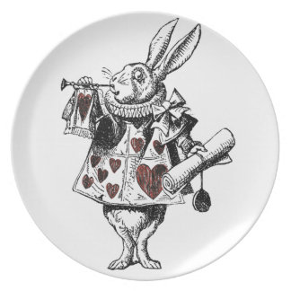 White Rabbits of Hearts - Alice in Wonderland Plates