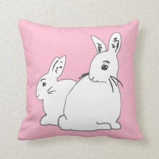 White Rabbits Pink Pillow