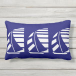 White Racing Boats on Blue Throw Pillow