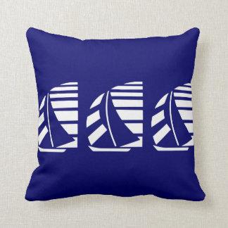 White Racing Sailboats on Blue Throw Pillow