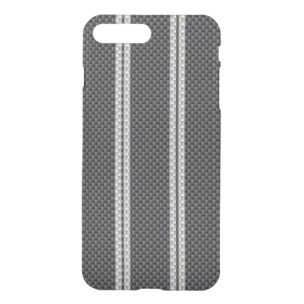White Racing Stripe Carbon Fiber Material iPhone 7 Plus Case