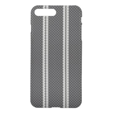 McTiffany Tiffany Aqua White Racing Stripe Carbon Fiber Material iPhone 8 Plus/7 Plus Case