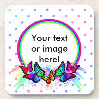 White Rainbow Butterflies And Dots Beverage Coaster