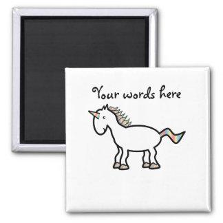 White rainbow unicorn 2 inch square magnet