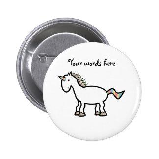 White rainbow unicorn 2 inch round button