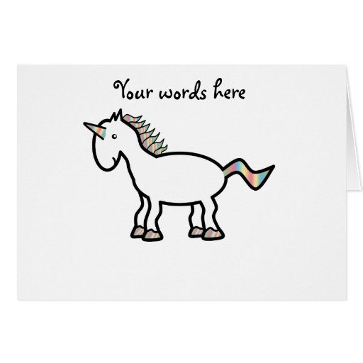 White rainbow unicorn greeting cards