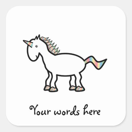 White rainbow unicorn sticker