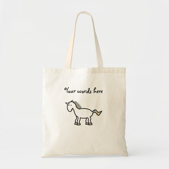 White rainbow unicorn tote bag