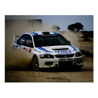 White Rally Car Post Cards