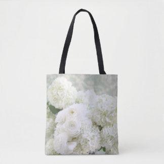 White ranunculus and hydrangeas tote bag