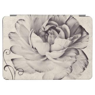 White Ranunculus Flower Black Background iPad Air Cover