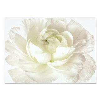 White Ranunculus High Key Flower Template Custom 4.5x6.25 Paper Invitation Card