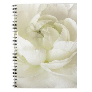 White Ranunculus High Key Flower Template Custom Note Book