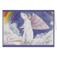 White Rat Angel Greeting Cards