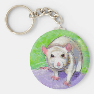White rat cute colorful acrylic painting pet rats basic round button keychain